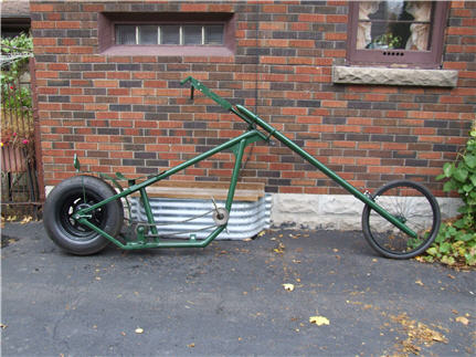 green chopper bike