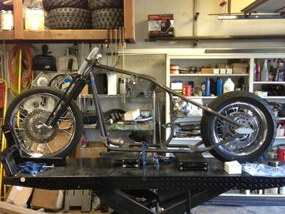 Initial Buell XB Bobber Mockup with new front end and Dyna wheels