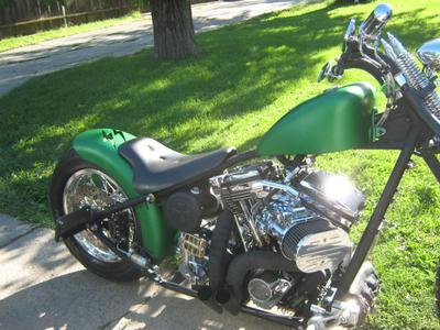 metalic green hard tail chopper