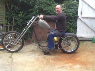 Me on the hardtail rolling chassis